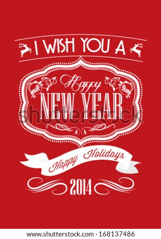 Happy New Year Greeting Card | Typography | Retro Style - stock vector
