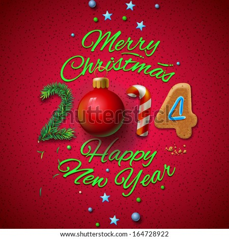 Happy New Year 2014 Greeting Card, vector illustration.  - stock vector