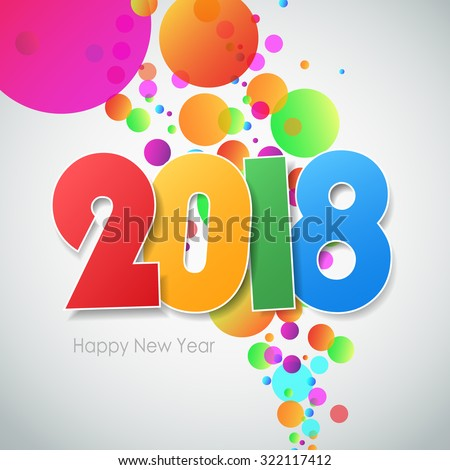 Happy new year 2018  greeting card. Vector illustration eps10