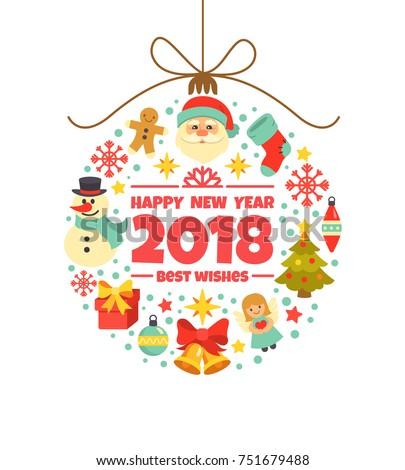 Happy New Year 2018 Greeting Card Stock Vektorgrafik 751679488