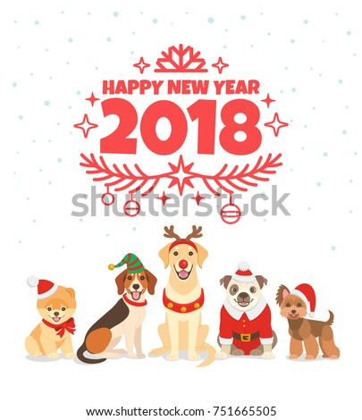 Happy new year 2018 greeting card stock vector hd royalty free happy new year 2018 greeting card vector illustration with wishes of a happy new year m4hsunfo