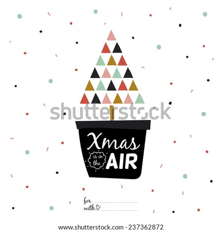 Happy new 2015 year greeting card with Christmas and winter calligraphic and typographic wishes. Inspirational and motivational romantic quotes posters in cute style. Bright illustration tree in a pot - stock vector