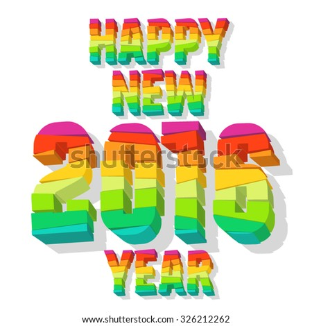 Happy new year greeting card with colorful 3D blocks - stock vector