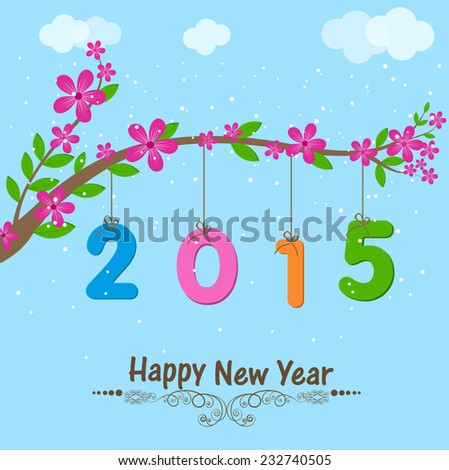 Happy new year greeting card colorful stock vector 232740505 happy new year greeting card with colorful text 2015 hanging from beautiful branch of flowers on m4hsunfo