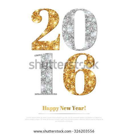 Happy New Year 2016 Greeting Card with Gold and Silver Numbers. Vector Illustration. Merry Christmas Flyer Design, Brochure Cover, Poster. Minimalistic Invitation Design. - stock vector