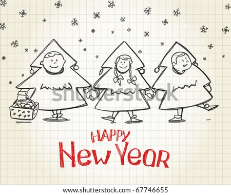 Happy New Year greetings - stock vector