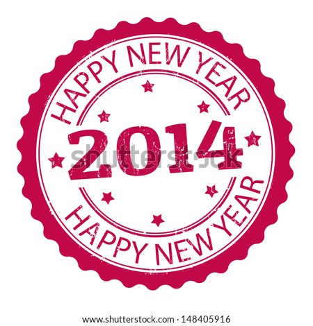 Happy new year 2014 grunge rubber stamp, vector illustration - stock vector