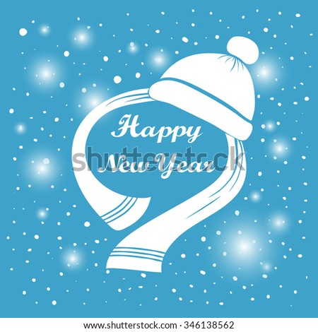 Happy New Year hand lettering. Handmade calligraphy holiday greeting card design. White hat and scarf. Abstract background Falling snow. Winter New year season label. Vector illustration. eps 10 - stock vector