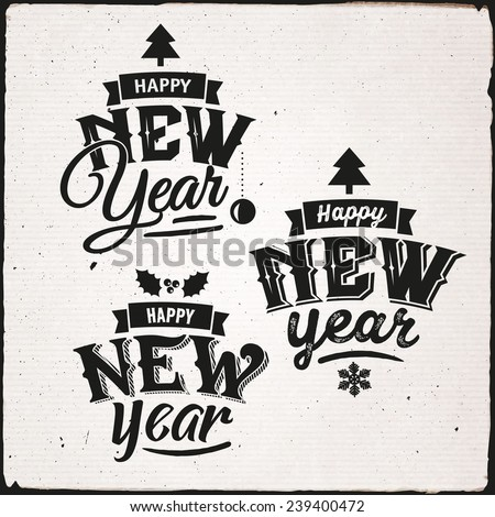 Happy New Year hand lettering Set Of Typographic Design - stock vector