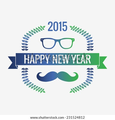 Happy new year 2015, hipster style, glasses wreaths avatar for social networks, the screen saver for your phone laptop sticker. - stock vector