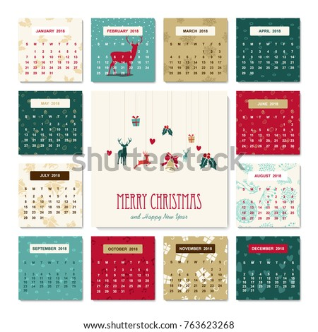 happy new year 2018 holiday calendar template with christmas reindeer decoration for monthly planner eps10