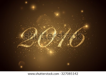 happy new year 2016. holiday vector background with sparkles - stock vector