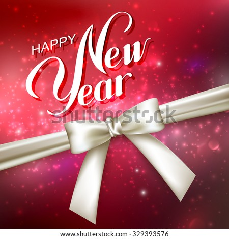 Happy New Year. Holiday Vector Illustration. Lettering Composition On The Red Shiny Background With Sparkles And White Bow - stock vector