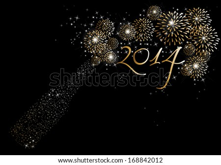 Happy new year 2014 holidays fireworks and champagne bottle greeting card background. EPS10 illustration organized in layers for easy editing. - stock vector