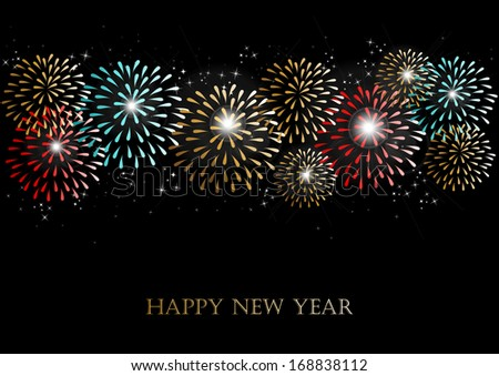Happy new year 2014 holidays fireworks greeting card background. EPS10 illustration organized in layers for easy editing. - stock vector