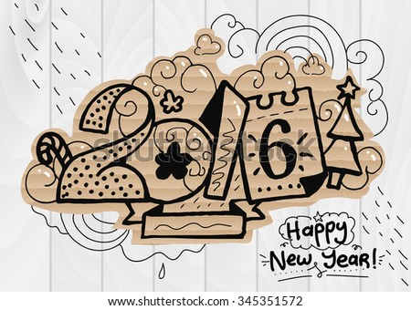 Happy New Year illustration, 2016 font. Hand drawn letters for your design, print, greeting cards, etc