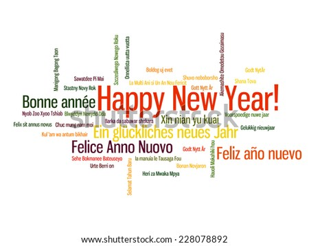 Happy New Year in different language. Words cloud - stock vector