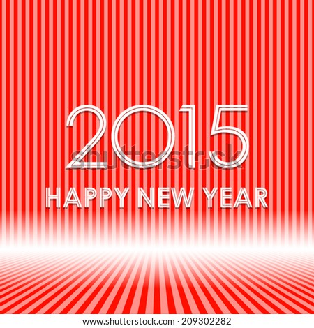 happy new year 2015 in red stripe line pattern background (vector)