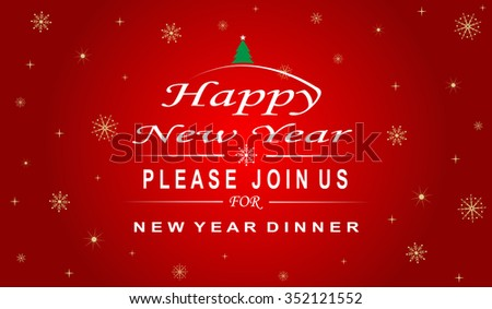 Happy New Year Invitation for dinner,greeting card Happy New 2016 ,Happy New Year Banner flyer - stock vector