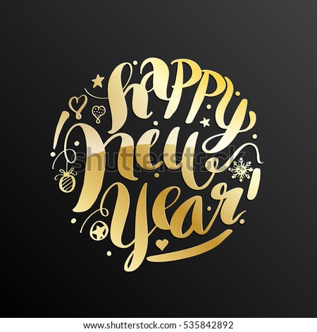 Happy New Year, lettering Greeting Card design circle gold text frame. Vector illustration.