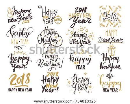 Happy New Year 2018 Lettering Handwritten Stock Vector 754818325