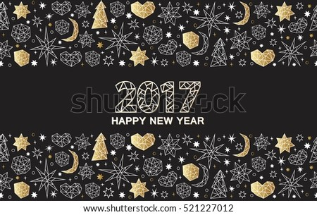 Happy New Year luxury gold seamless pattern on the balck background with stars, balls, noel, heart and holiday elements in trendy geometric style. Greeting card, invitation, flyer.
