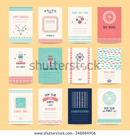 Happy New Year, Merry Christmas, Family holidays greeting card templates. Artistic collection with hand drawn ethnic textures, knitted ornaments, thin line icons, geometric stylized illustrations. - stock vector