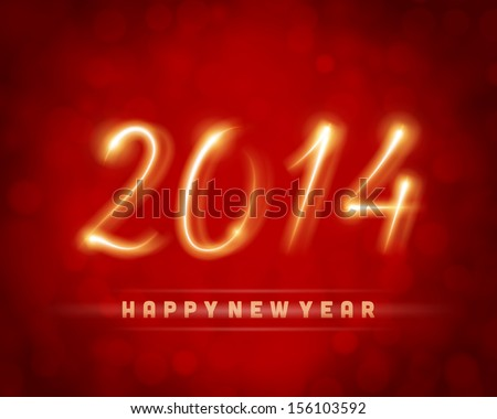 Happy new year 2014 message from light vector background. Eps 10.  - stock vector