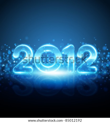 Happy new year 2012 message from neon vector background. Eps 10. - stock vector