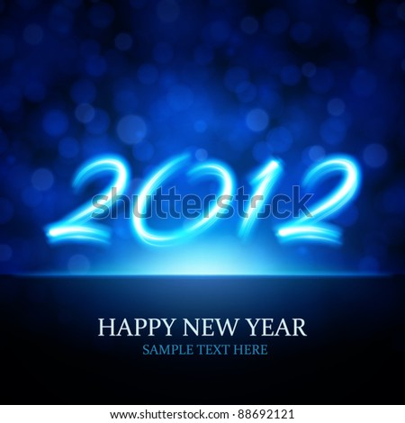 Happy new year 2012 message from neon vector background. Eps 10.