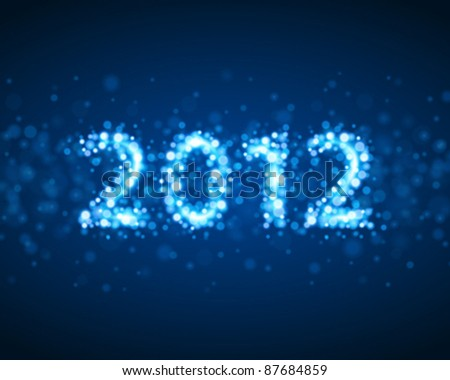 Happy new year 2012 message from sparkles light vector background. Eps 10. - stock vector