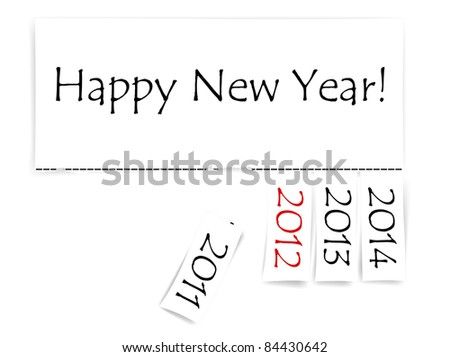 Happy New Year message with years from 2011 to 2014 - stock vector