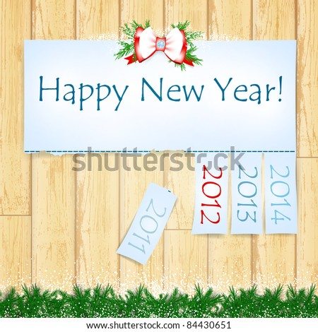 Happy New Year message with years from 2011 to 2014 over wooden background - stock vector