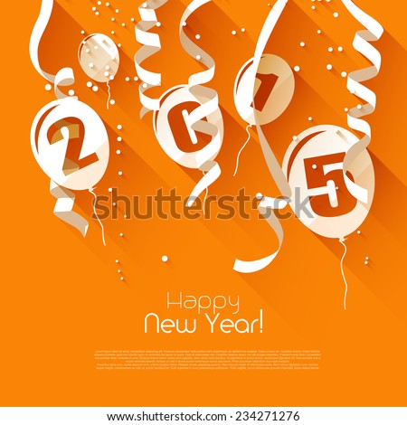 Happy New Year 2015 - modern greeting card in flat design style  - stock vector