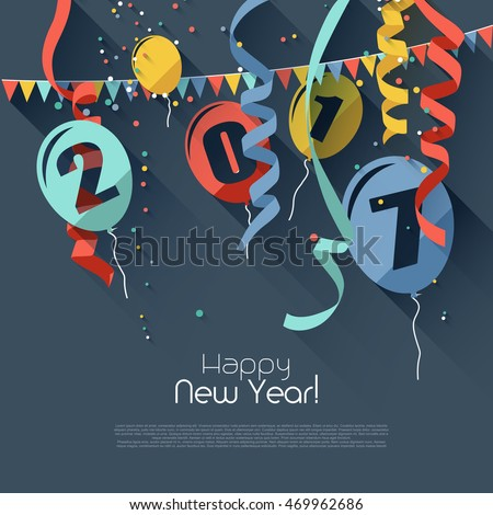 Happy New Year 2017 - modern greeting card in flat design style