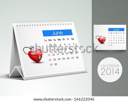 Happy New Year 2014 month calendar. - stock vector
