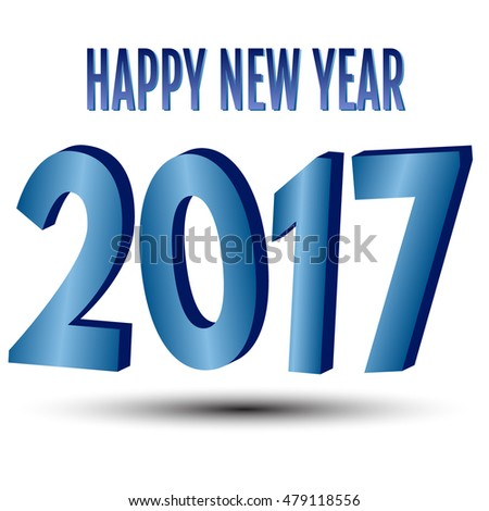 Happy New Year. 2017 New Year 3d blue numbers on a white background. Vector illustration.
