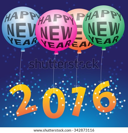Happy new year night festival holiday balloons vector illustration background.