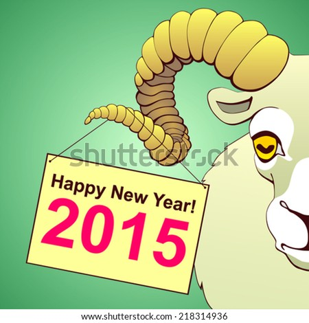 Happy New Year of the Ram - stock vector