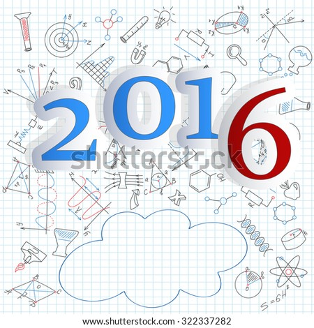 Happy new year 2016 on the notebook sheet in a cage of icons on a theme of education