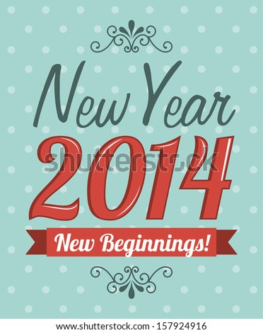 happy new year 2014 over dotted background  vector illustration  - stock vector
