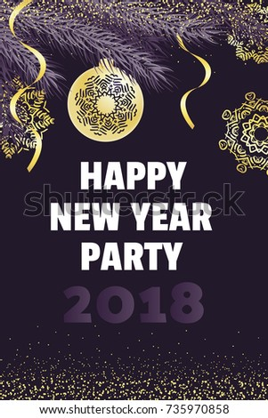 Happy New Year Party Invitation Template Stock Vector - Party invitation template: new year party invitation template