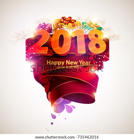 Happy new year 2018. Poster template.