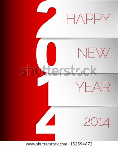 Happy New Year 2014 red and white vector card  - stock vector