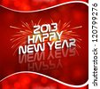 Happy new year 2013 red colorful celebration circle wave vector design - stock vector