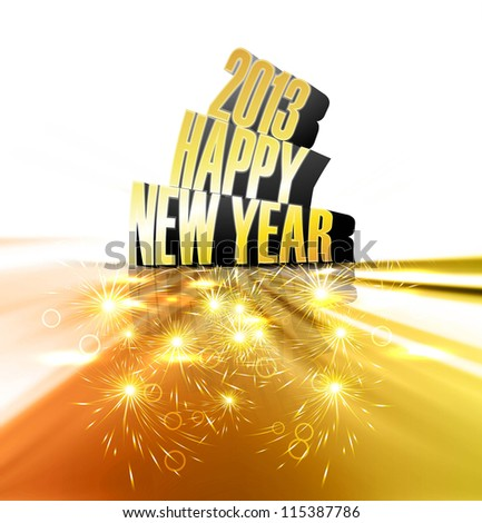 Happy new year 2013 reflection golden colorful shiny design - stock vector
