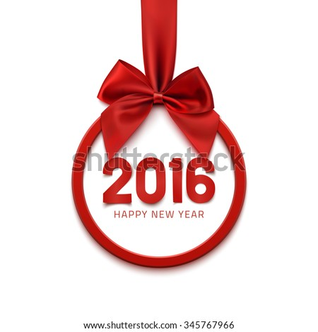 Happy New Year 2016 round banner with red ribbon and bow, isolated on white background. Christmas tree decoration. Greeting card template. Vector illustration. - stock vector
