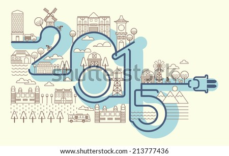 Happy New Year's Card, Infographics  style New Year greetings illustration, Building Postcard Illustration, New 2015 year greeting card, Happy new Year 2015 Vector EPS illustration - stock vector