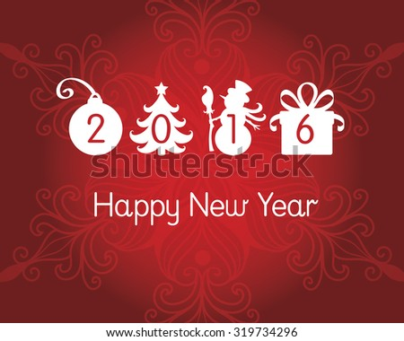 Happy New Year's post card. - stock vector