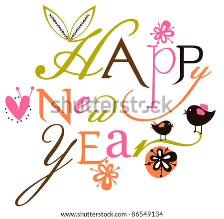 Happy new year script card - stock vector